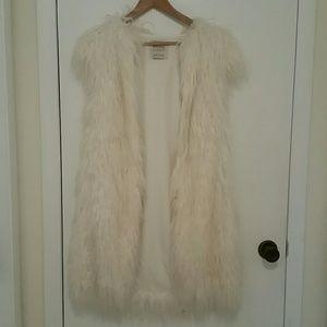 Long fuax fur vest
